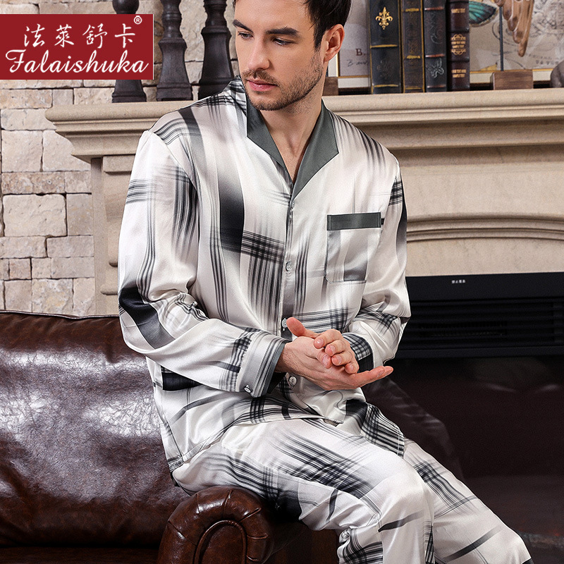 Fashion Plaid 100% Mulberry Silk Pajamas Sets Men Sleepwear High Quality Genuine Silk Noble Male Elegant Pyjamas Sets Men T9028