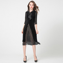 цена на Plus Size Dress Midi Women's Autumn 2019 New Polka Dot Patchwork Miyake Pleated Bow Collar Three Quarter Sleeves Split Dress