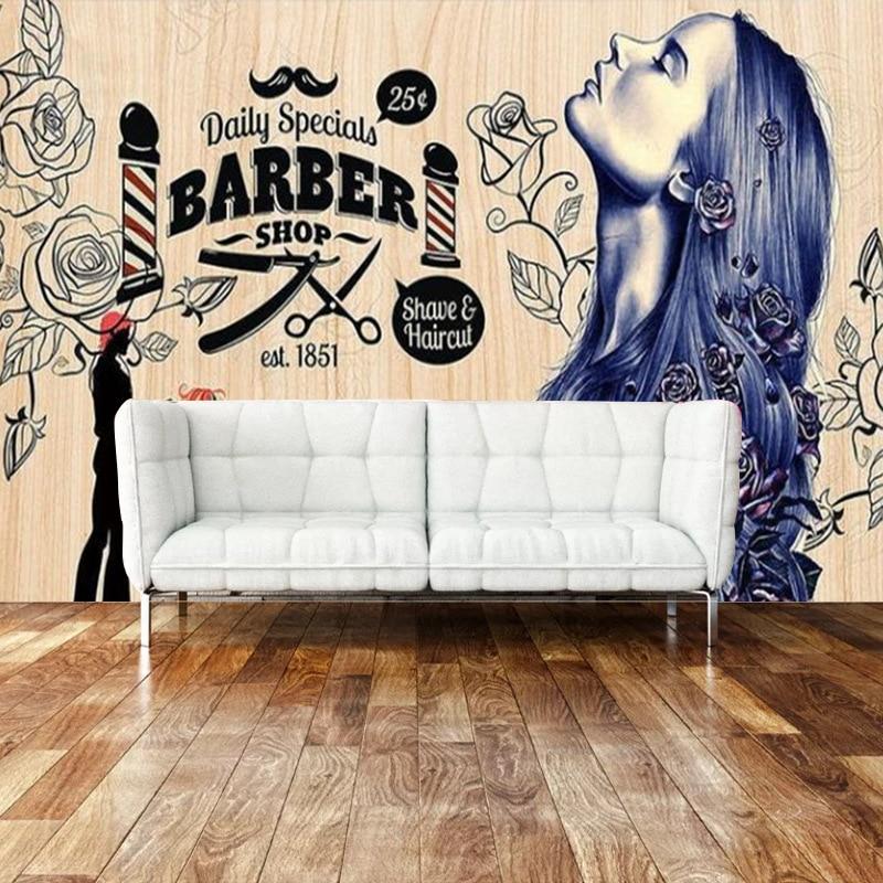 Beauty And Hair Salon Wall Barber Shop Nostalgic Retro Makeup Wallpaper 3D Large Mural