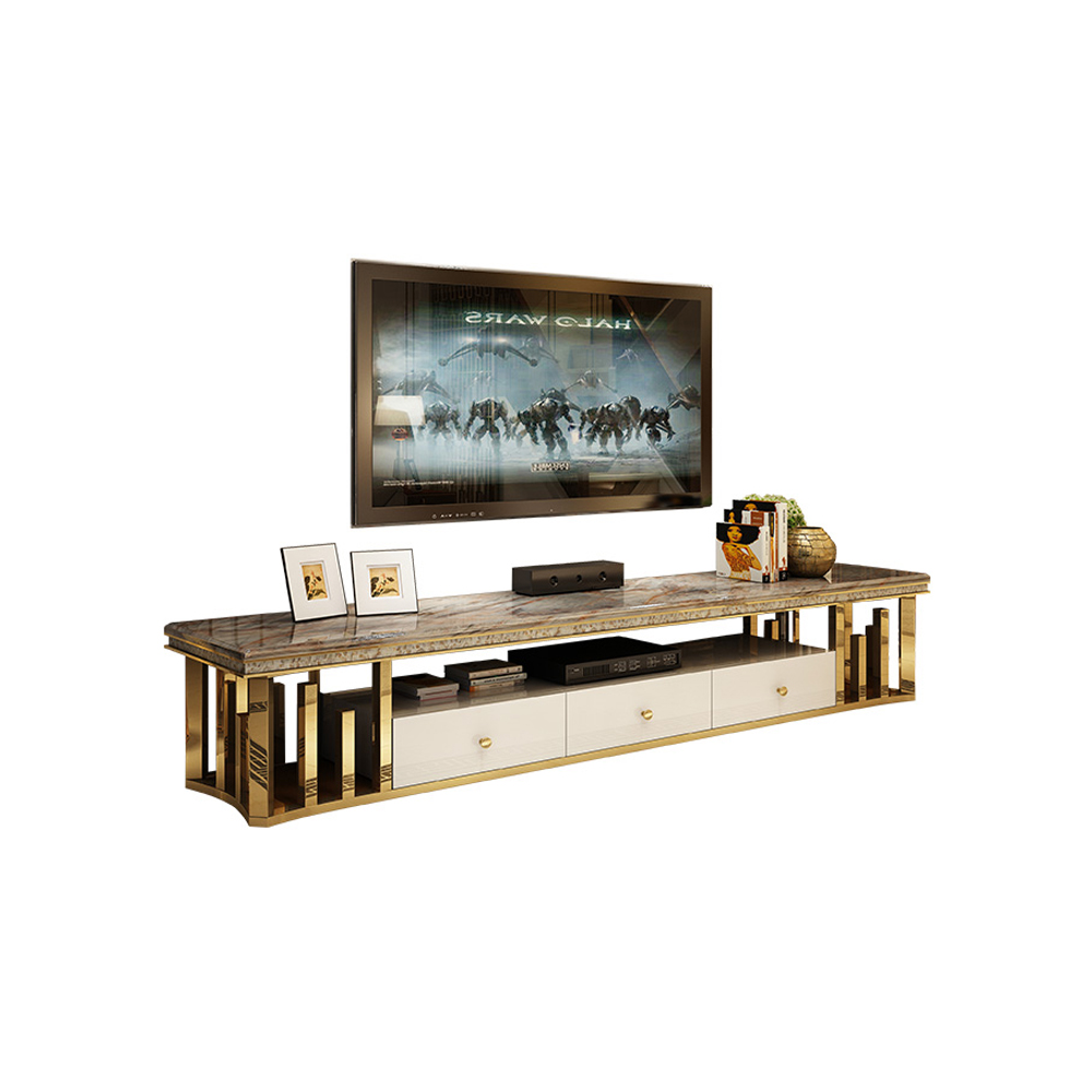 Natural Marble Stainless Steel Tv Stand Modern Living Room Home