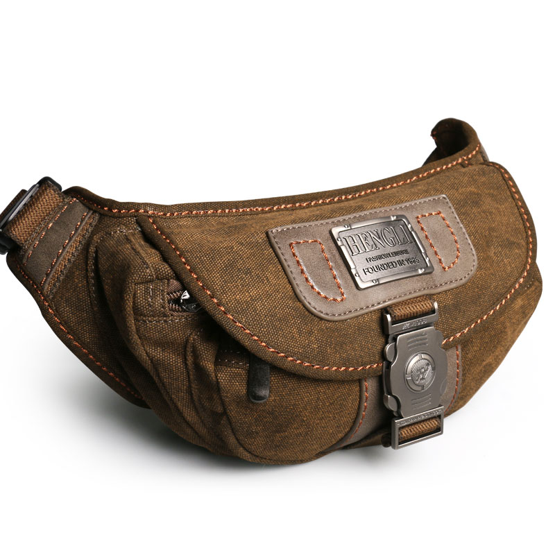 Ruil Retro Men's Waist Pouch Wear Resistant Canvas Travel Phone Bag High-Quality Toolkit Vintage Package