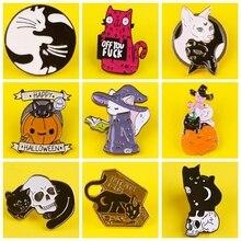 DIY Lovely Cat Enamel Pin Pattern Metal Badges Pins and Brooches for Women Men Lapel pin Creative Gift backpack bag jacket badge недорого