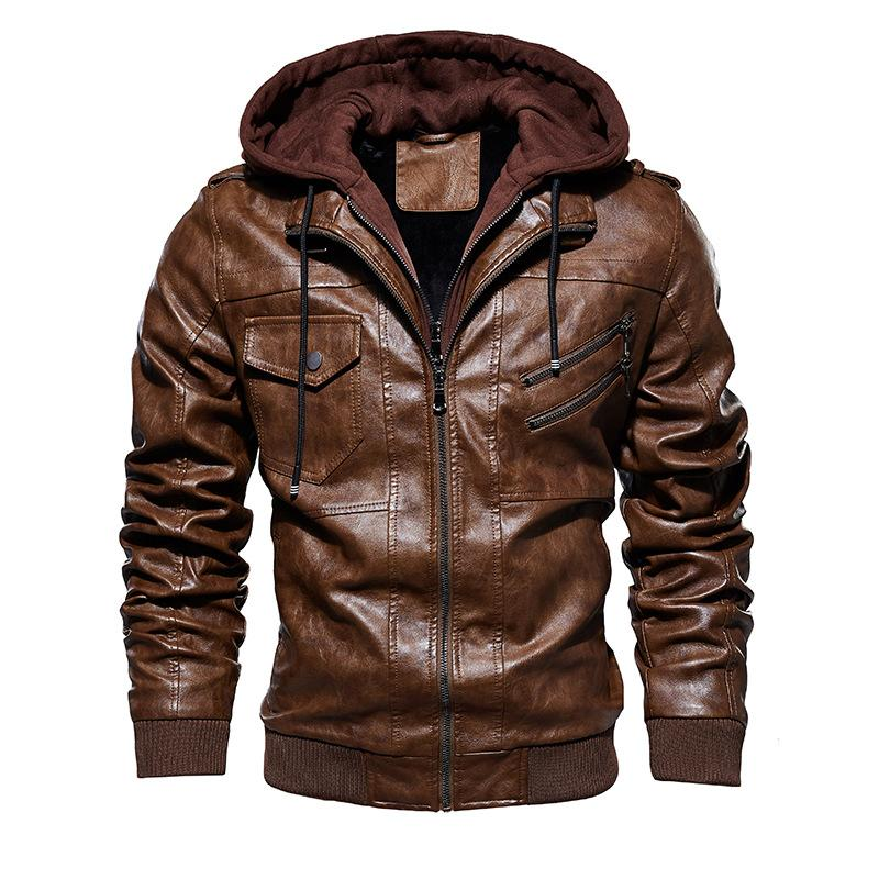 SHENGLANGYIN Men Motorcycle Leather Jackets Winter Male Fashion Casual Hooded Faux Jacket Mens Warm PU Leather Jackets Coats