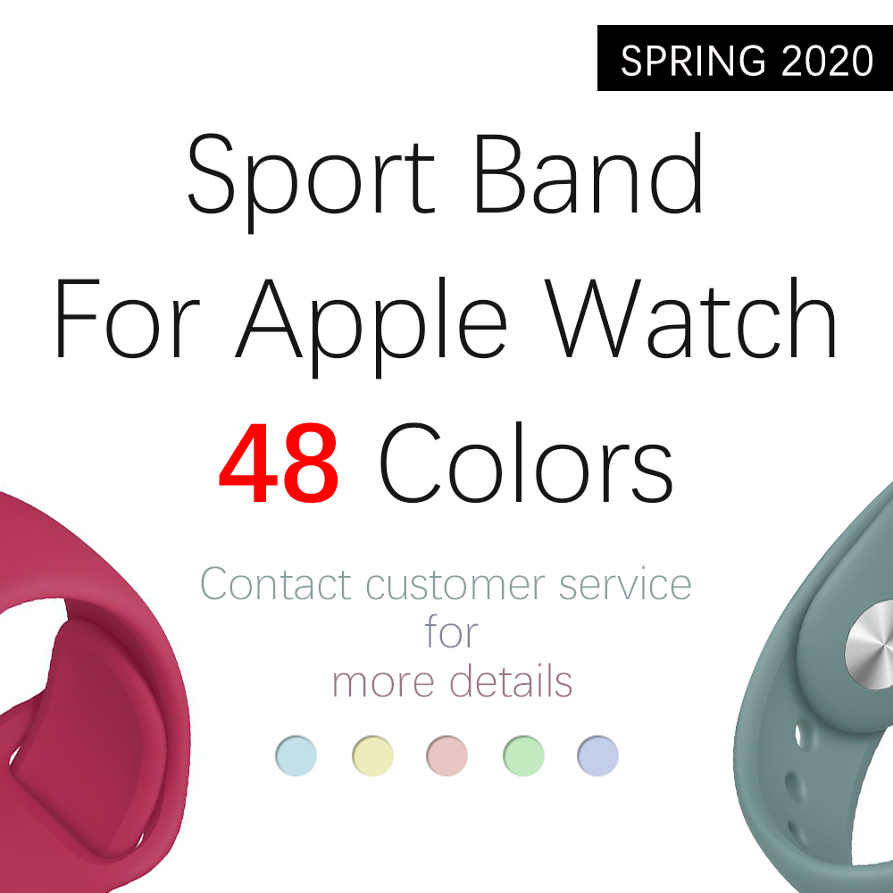 For Apple Watch Band Series 5 4 3 2 1 38MM 42MM Soft Silicone Sports Bracelet Rubber Watchband Strap For Iwatch 5 4 40MM 44MM