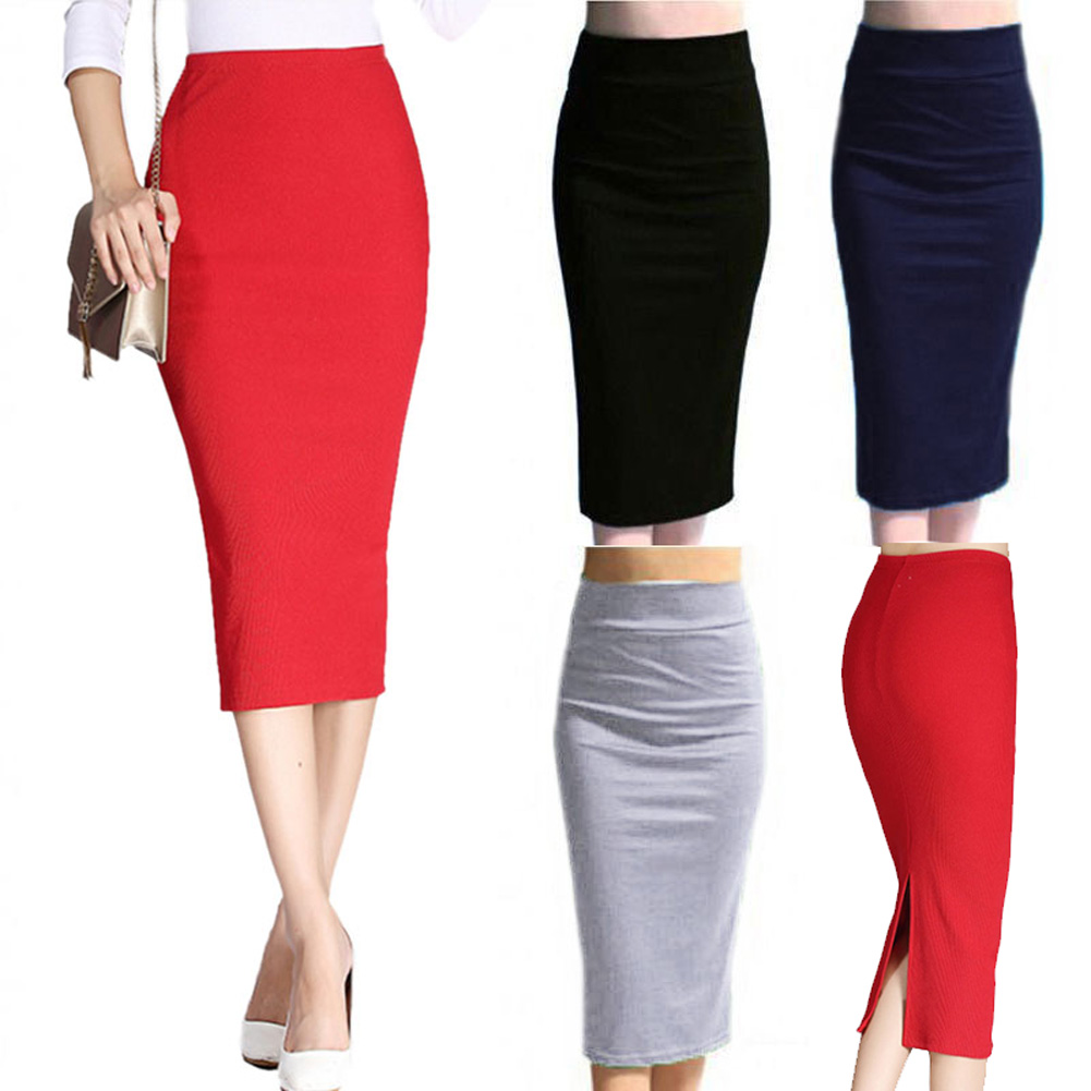 Autumn Winter Women Pencil Skirt High Waist Cotton Solid Color Stretch Elastic Slim Business OL Split Bodycon Skirts C55