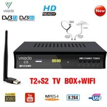Vmade dvb t2 dvb s2 receptor terrestrial por satélite digital, combo hd dvb t2 s2 tv box h.264 MPEG 4 1080p conjunto padrão caixa superior