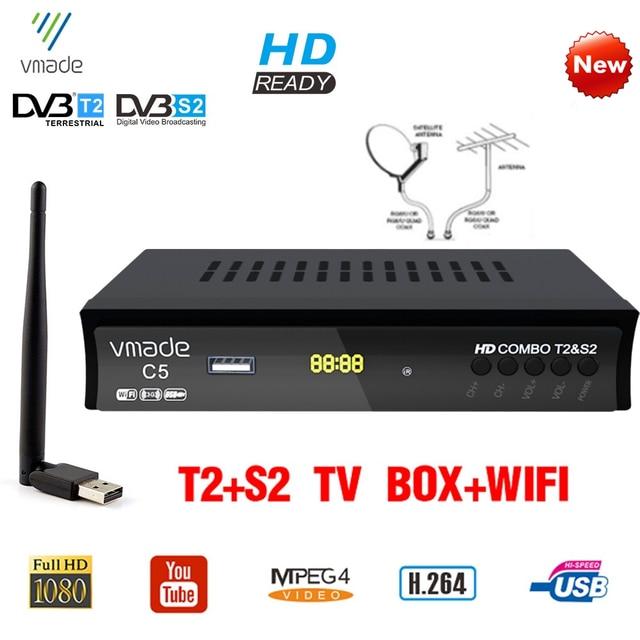 Vmade dvb t2 dvb s2 satellitare digitale terrestre ricevitore combo HD dvb t2 s2 tv box H.264 MPEG 4 1080p Standard set top box