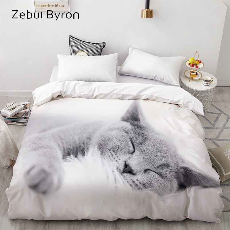 3D Duvet Cover,Comforter/Quilt/Blanket Case Double/Queen/King,Bedding Custom/220x240/200x200,Animal Pet Lazy Cat,Drop Ship