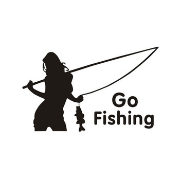 1PC beauty go fishing car stickers outdoor sport car styling car decoration image