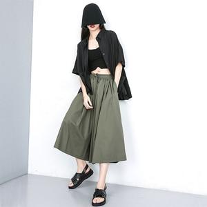 [EAM] High Elastic Waist Green Multicolor Long Wide Leg Trousers New Loose Fit Pants Women Fashion Tide Spring Autumn 2020 JU671