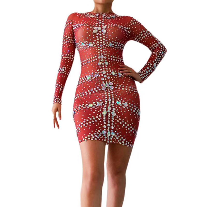 Silver Rhinestones Red Dress Evening Party Dress Women Celebrate Outfit Stage Dance Stretch Dresses Singer GOGO Dancer Costume