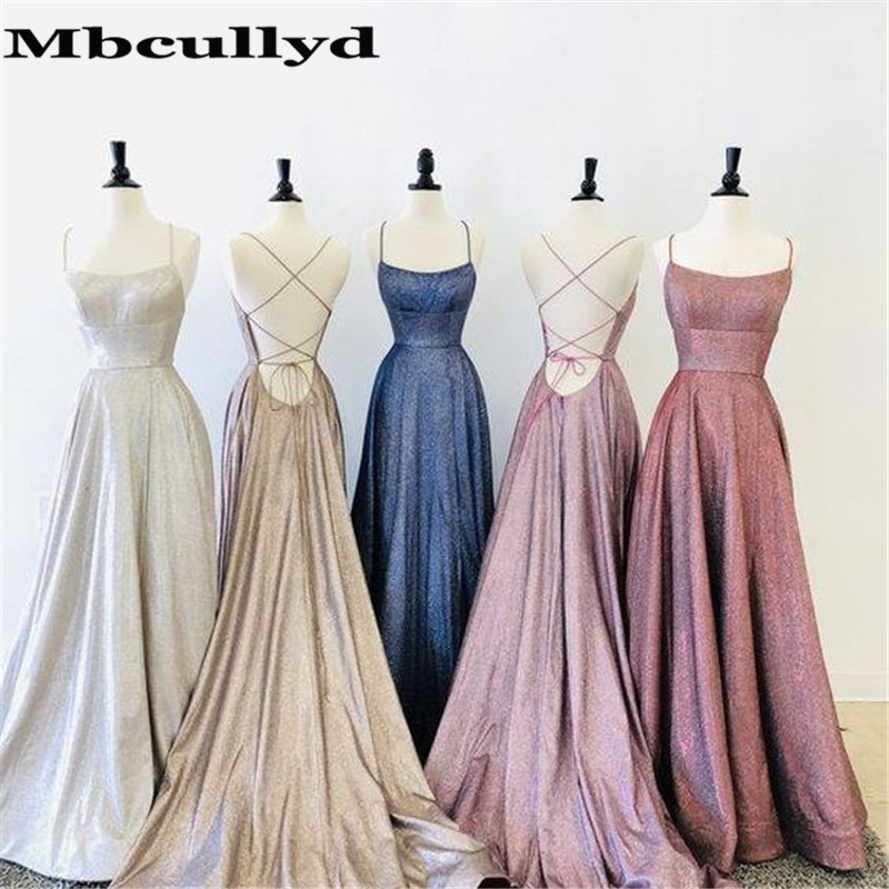 Mbcullyd Glitter Squined   Prom     Dresses   Long With Pocket 2020 Split Evening Party   Dress   For Women Cross Backless robe de soiree
