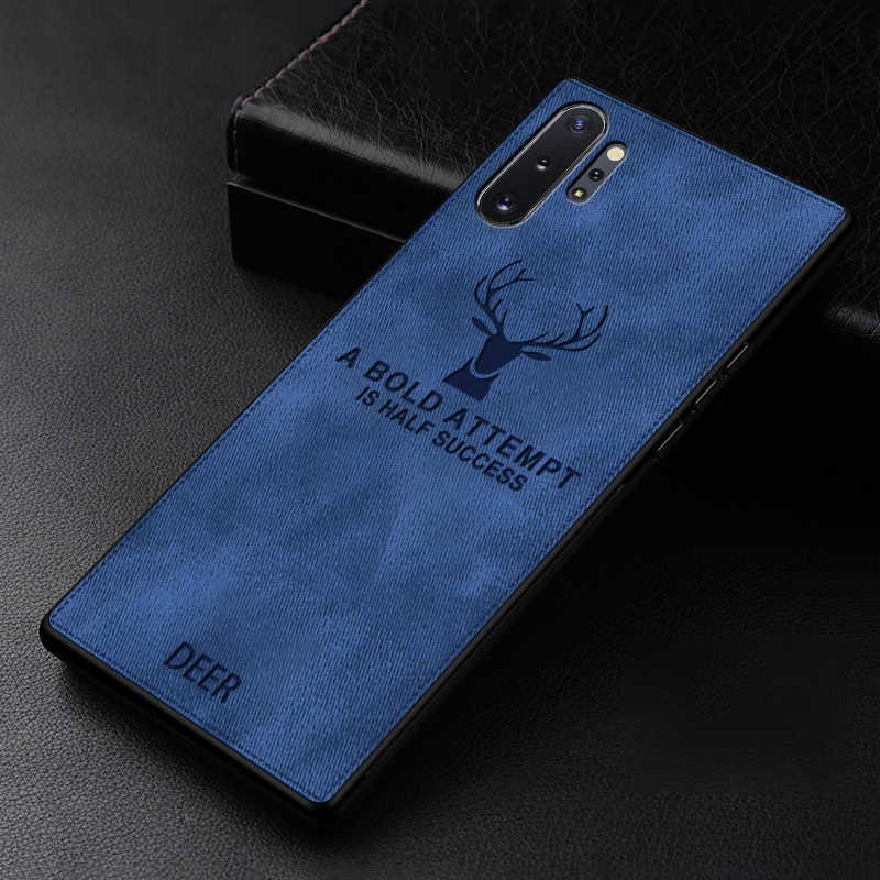 Cloth Texture Case For Samsung Galaxy Note 10 Pro Plus Note 10 Deer Patterned Phone Cases Soft Silicone Frame Fabric Back Cover