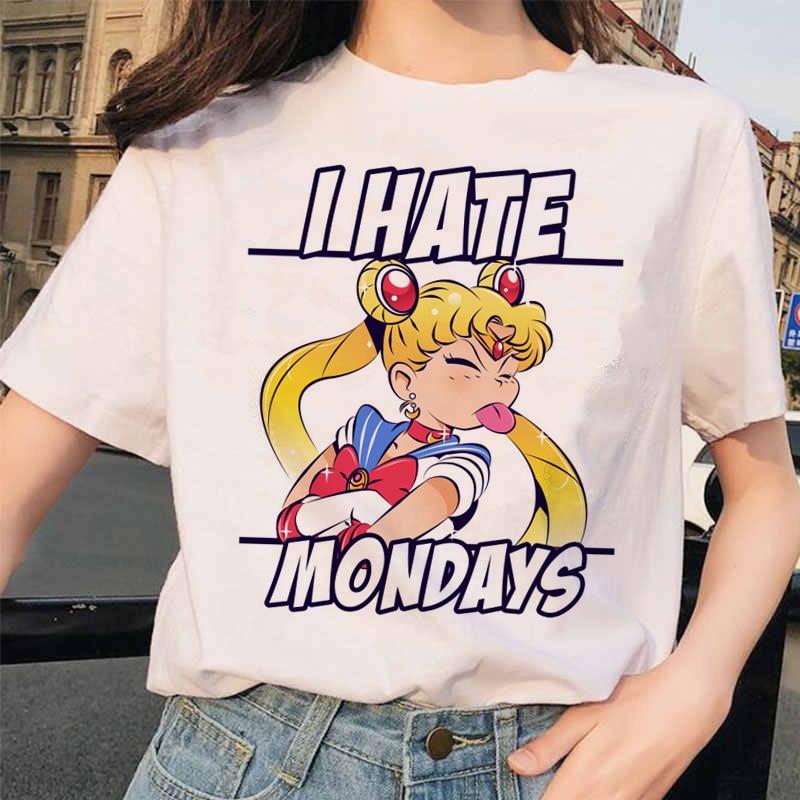 Sailor Moon T Shirt Harajuku Women Clothes Funny Aesthetic Short Sleeve Fun Ulzzang T-Shirt Cute Cat Tshirt Cartoon Top Tees