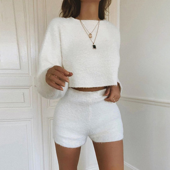 summer flannel two pieces set solid women streetwear sweatshirts crop top+ shorts outfit fashion tracksuit velvet clothing 2020 bomblook sexy off shoulder plush two pieces set long sleeve tube crop top 2020 fashion shorts skirt casual clothing streetwear