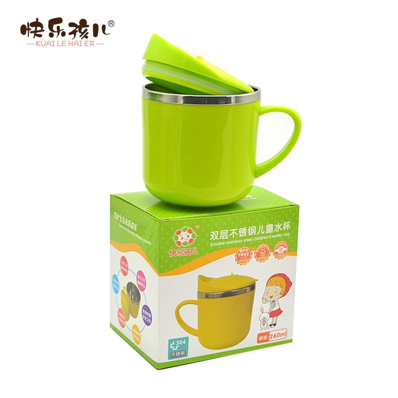 Happy Child 304 Stainless Steel Double Layer Insulated Baby Cup Children Shatter-resistant Training Program To Learn Drinking Gl