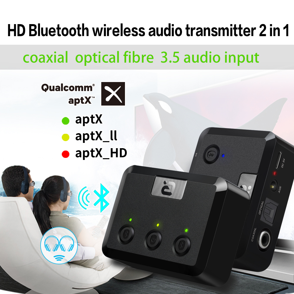 Bluetooth Aptx Adapter CSR 5.0 Bluetooth Receiver Transmitter 2 in 1 Adapter with RCA Optical Audio 3.5mm Jack for TV Speaker