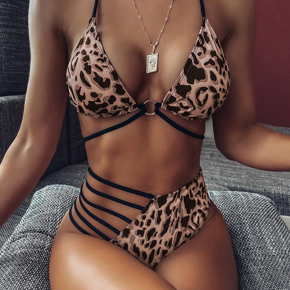 2020 New Leopard Asymmetrical Female Swimsuit High Waist Bikini Women Swimwear Sexy Two-pieces Bikini Set Bather Bathing Suit D3