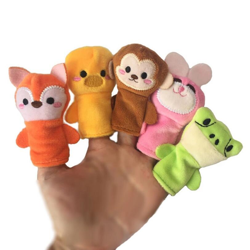 Educational Finger Puppets Baby Mini Animals Hand Cartoon Animal Plush doll Finger Puppets Theater Plush Toys For Children Gifts
