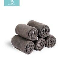 HappyFlute 5 шт./лот детские складные тканевые подгузники, вставка с бамбуковым углем и вставкой из микрофибры 25*35 см использовать с тканевыми подгузниками