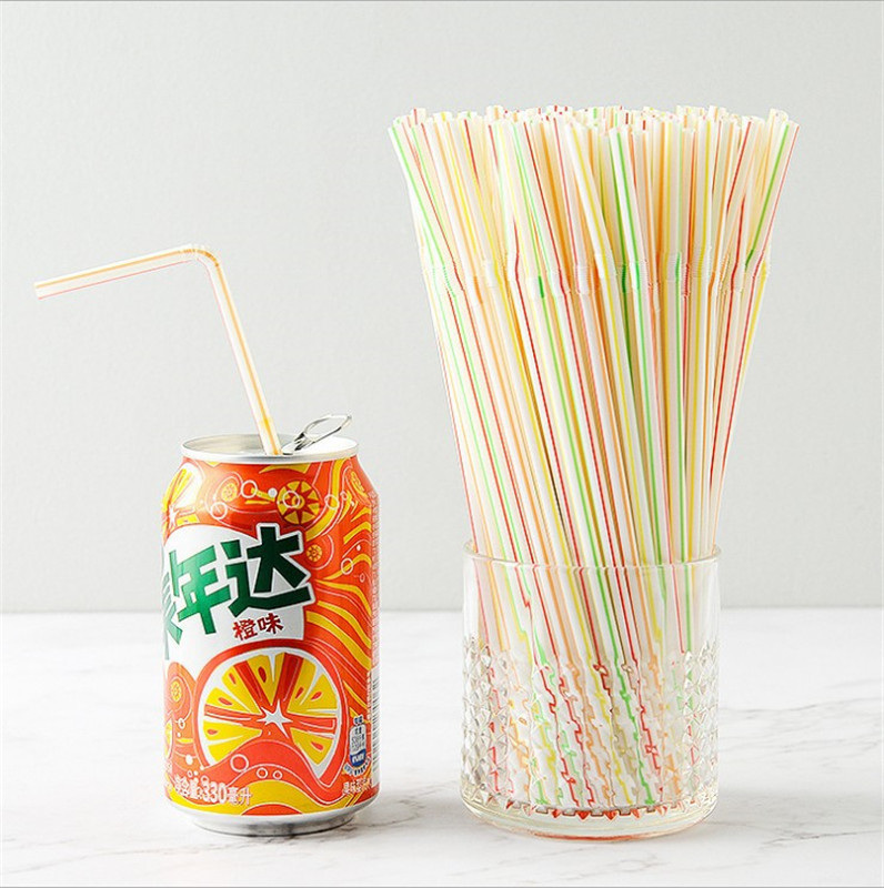100 Pieces-Disposable Color Elbow Plastic Flexible Fruit Juice Beverage Milk Tea Straw [Activity]