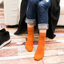 New Women Long Tube Pile Tide Socks Solid Fashion Autumn and winter Ladies Candy color Comfortable Cotton