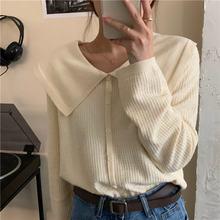 Женский свитер на пуговицах свободный винтажный пуловер Однотонный