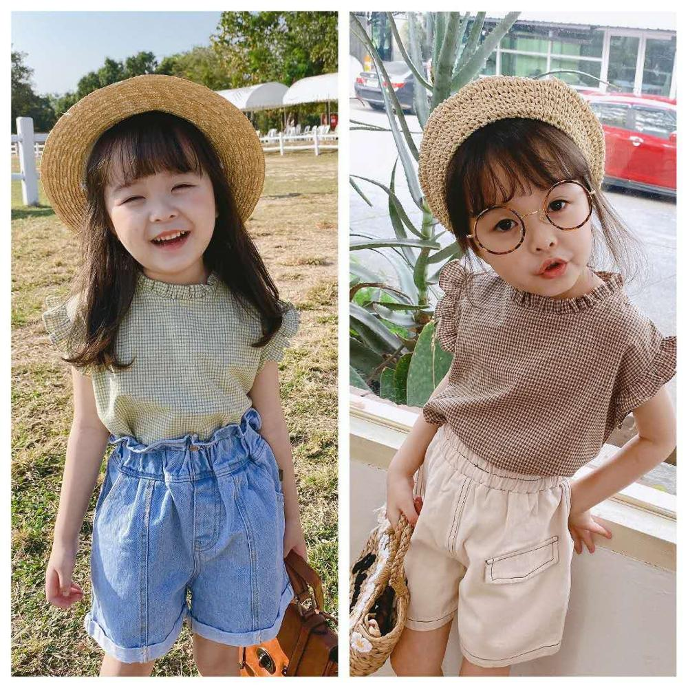 2020 Children's Clothing Summer New Products Girls Korean Summer Plaid Sleeveless Lace Shirt Girls Shirt Cute Girls Top