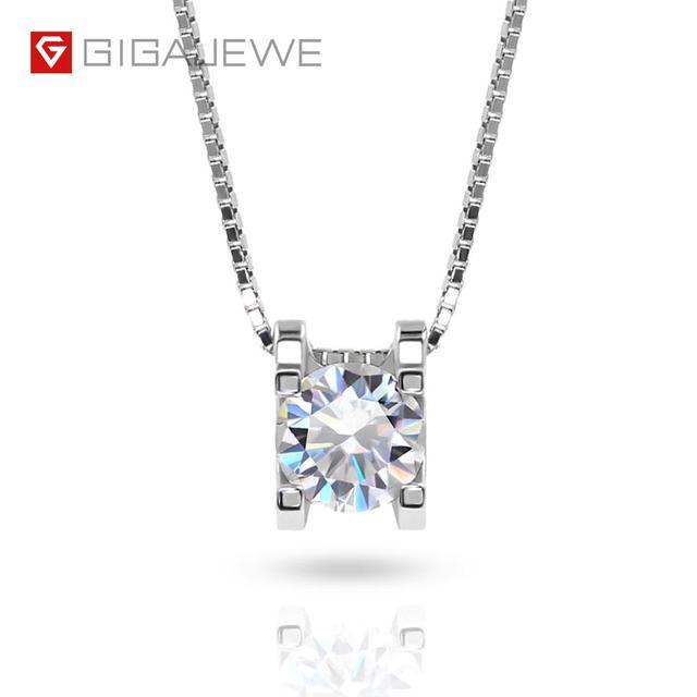 GIGAJEWE collar de moissanita plata de primera ley para mujer, collar redondo, plata esterlina 5,5, oro blanco de 18 quilates, 18K, 925mm, Diamante de prueba, regalo para niña y mujer