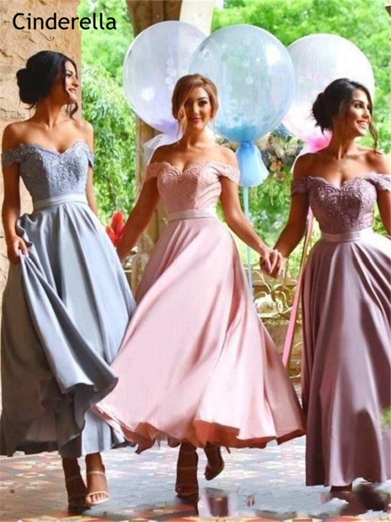 Cinderella Off The Shoulder A-Line Ankle Length Lace Applique Silk Satin   Bridesmaid     Dresses   Wedding Party   Bridesmaid     Dresses