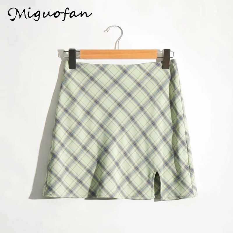 Miguofan ลายสก๊อตสีเขียวพิมพ์กระโปรงสูงแยกสูงเอวกระโปรงผู้หญิงกระโปรงเอวสูง VINTAGE หญิงหญิงฤดูใบไม้ผลิ 2020