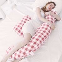 Multifunction Plaid Pregnancy Pillow for Side Sleeper Pregnant Women Full Body U Shape Maternity Pillow for Belly Wasit Support