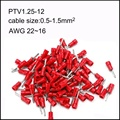 1000PCS PTV1.25 -12/9/10/13 pin-shaped pre-insulated bare end cold-pressed terminal copper AWG22-16 cable 0.5-1.5mm2 Imax 19A
