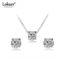 Lokaer Classic Rose Gold Shiny Cubic Zirconia Earrings Necklaces Set For Women Stainless Steel Wedding Bridal Sets Jewelry SE027