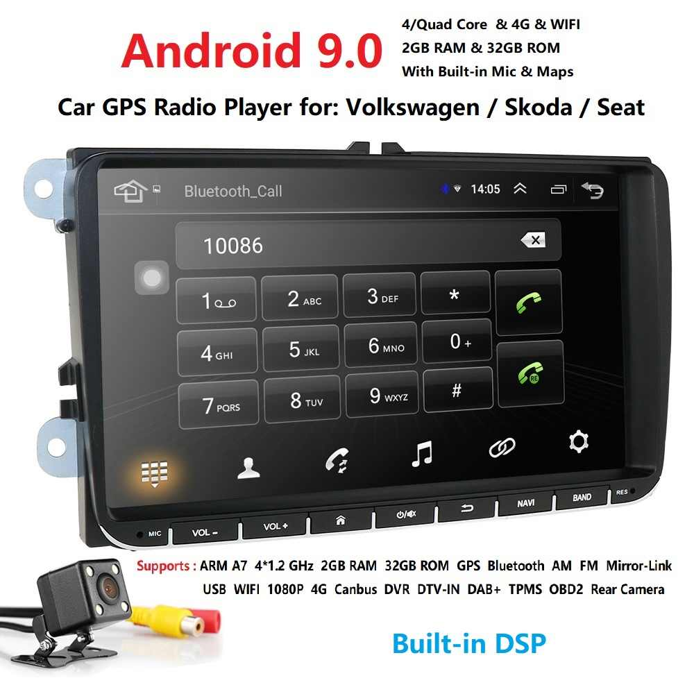 "Free shipping! 9"" Android9.0 Car Multimedia player radio GPS Autoradio For VW POLO PASSAT b6 golf 5 Skoda yeti Octavia SEAT LEON"