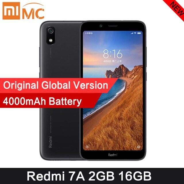 オリジナル xiaomi redmi 7A 2 ギガバイト 16 ギガバイト 5.45 インチのスマートフォン snapdargon 439 オクタコア 4000 3000mah の大バッテリーグローバルバージョン 4 の 3g 携帯電話
