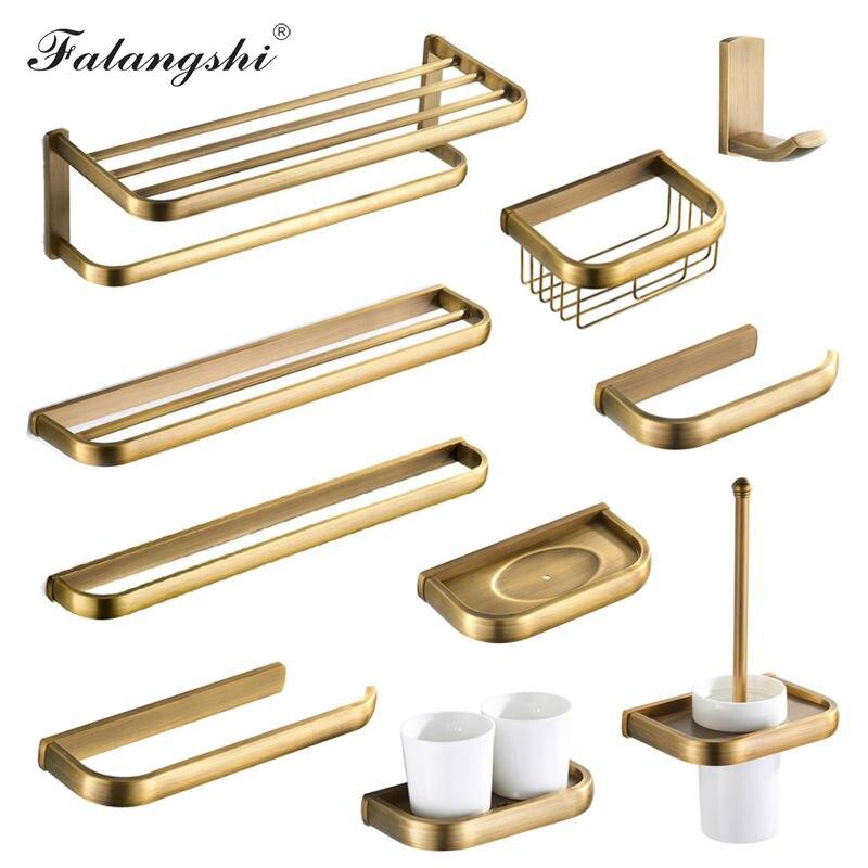 Античный бронзовый набор аксессуаров для ванной комнаты, латунная корзина, полка, полотенцесушитель, держатель рулона бумаги, держатель дл...