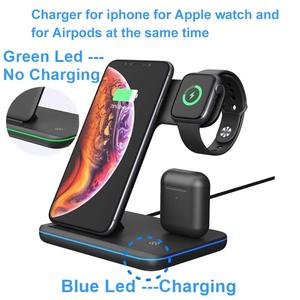 Image 4 - Suporte com carregador sem fio qi 15w, plataforma de carregamento rápido para apple watch 5 4 3 2 airpods pro iphone 11 pro max xs max xr,