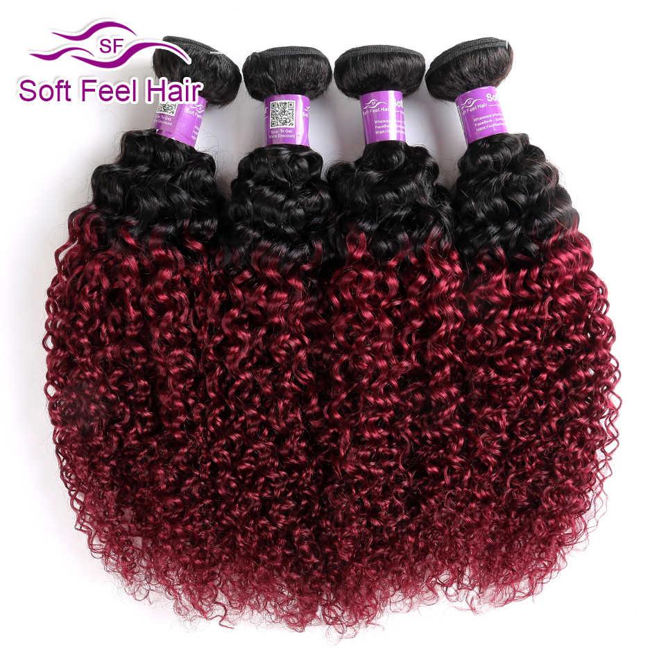 Miękkie w dotyku włosy 1B/burgundowe wiązki włosów naturalnych 99J brazylijski perwersyjne kręcone włosy wyplata wiązki czerwony Remy Ombre ludzkie włosy 4 wiązki