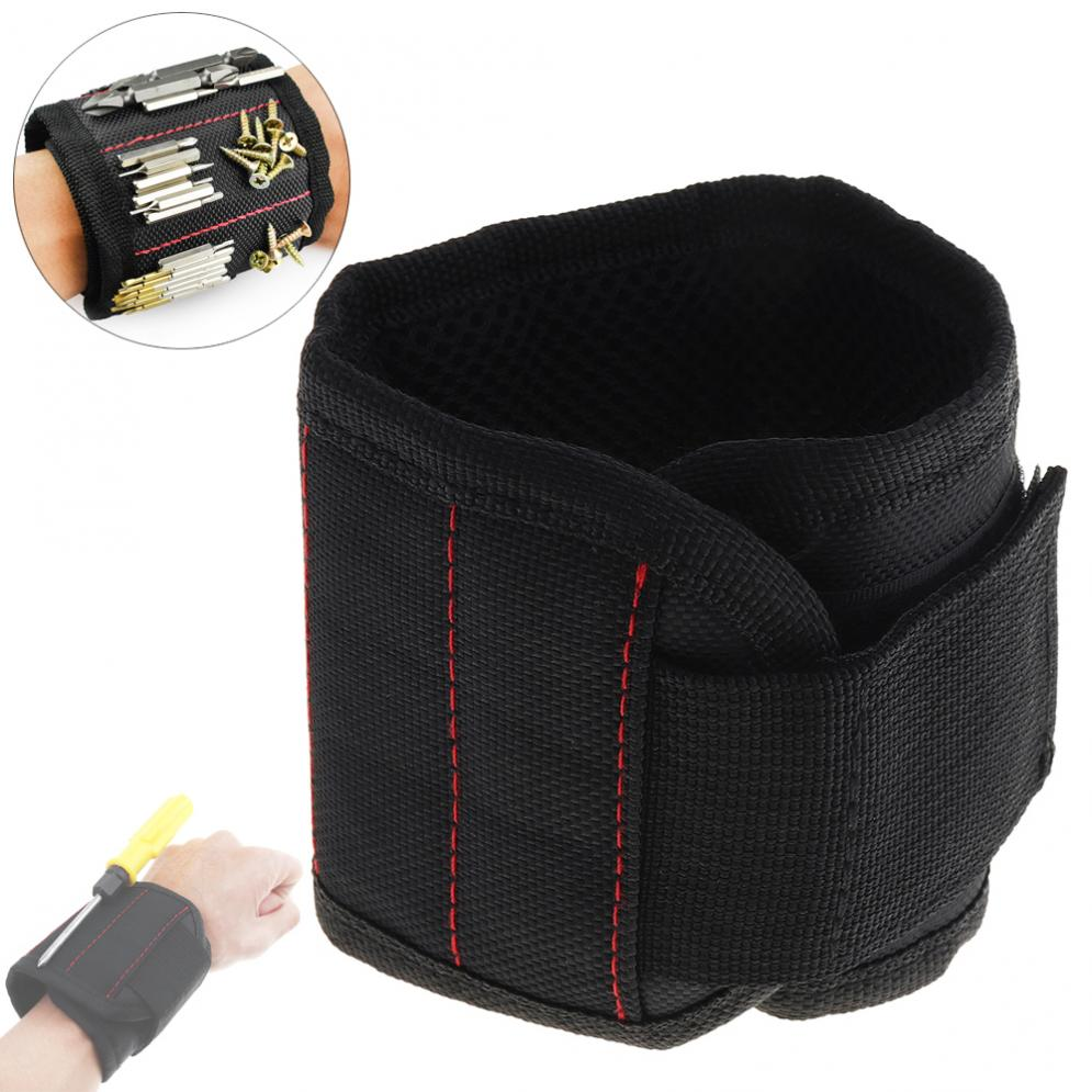 Portable Strong Magnetic Wristband Pocket Tool Bag Holding Screws Nails Drill Bits 10 Strong Magnets Tool Storage Auto Repair