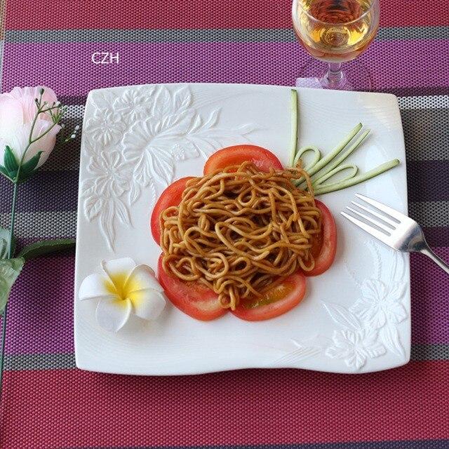 Service d'assiettes plates en céramique   Assiette décorative en porcelaine, vaisselle de service pour la salade du bœuf et du Steak - 5