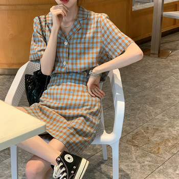 Women Summer Plaid Casual 2 Two Piece Set Short Sleeve Loose Top with High Waist Mini Skirt