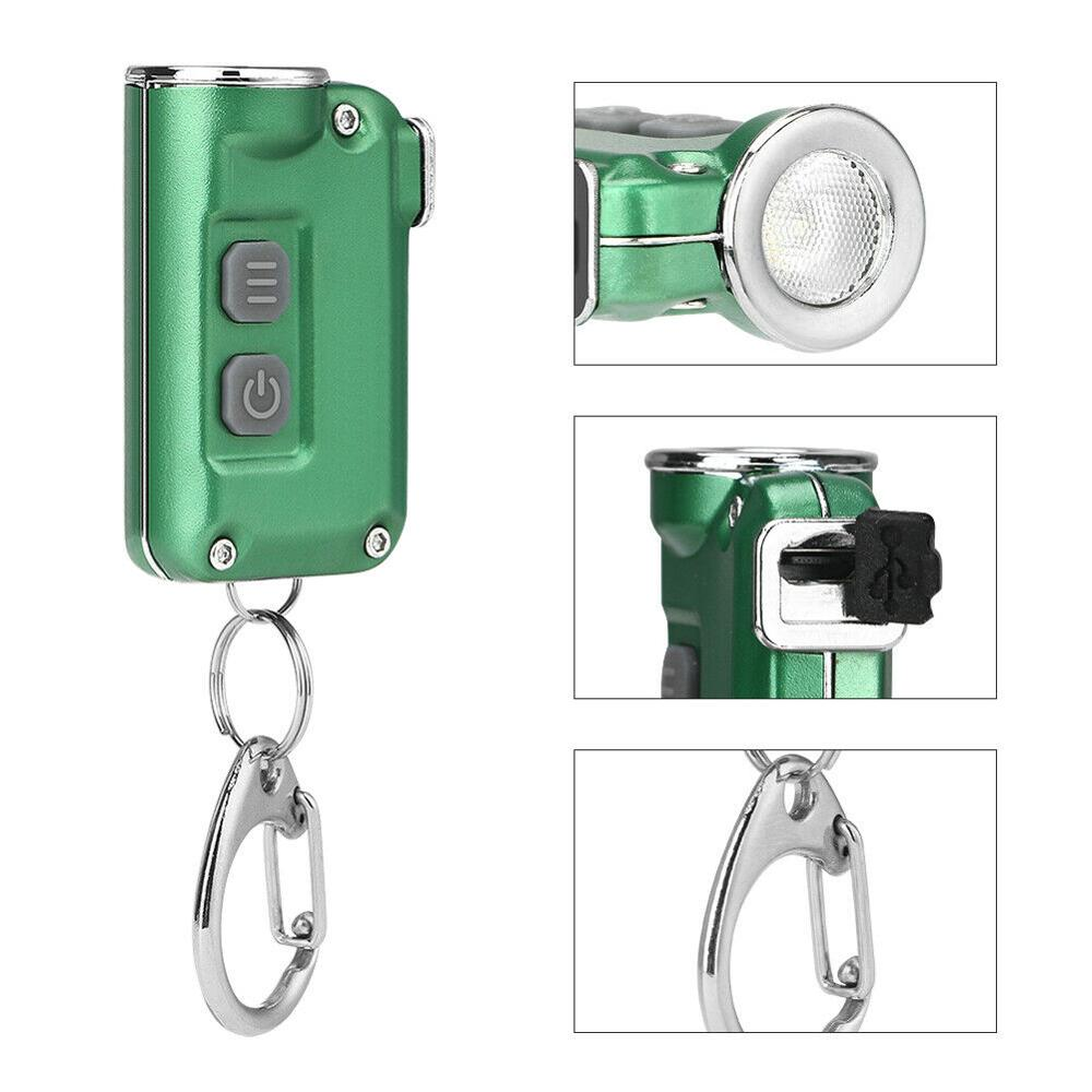 Pocket Mini Flashlight Dual Switch 4 Modes LED Keychain Flashlights USB Rechargeable Torch Portable Lantern For Night Walking