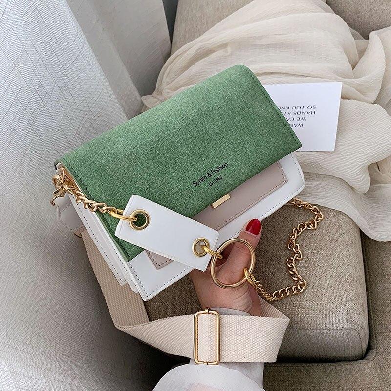 Скраб кожа контрастного цвета сумки через плечо для женщин 2019 цепь сумка через плечо женские кошельки и сумочки через плечо|Сумки с ручками|   | АлиЭкспресс