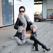 Winter Faux Fur Coat with Fur Fox Collars Women Black High Quality Faux Sheepskin Coats Warm Slim Female Luxurious Fur Jacket