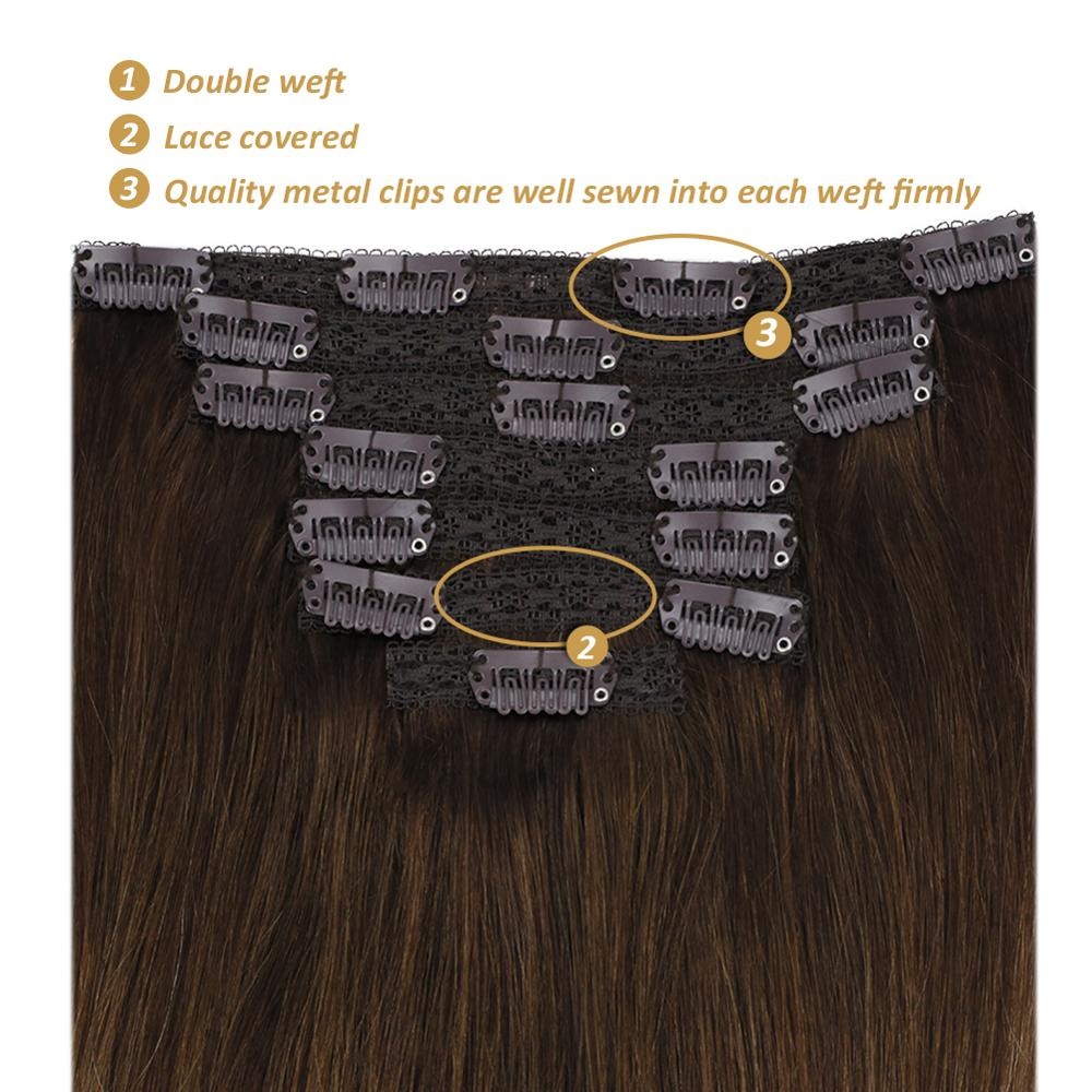 "[27 colors] Ugeat Clip in Hair Extensions 14-22"" Human Hair Double Drawn Remy Hair Full Head Clip in Extensions 120g/7Pcs Set"
