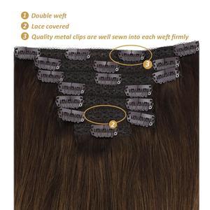 "Image 3 - [27色] ugeatクリップで毛延長14 22 ""人間の髪ダブル描画remy毛の完全なで延長120グラム/7個セット"