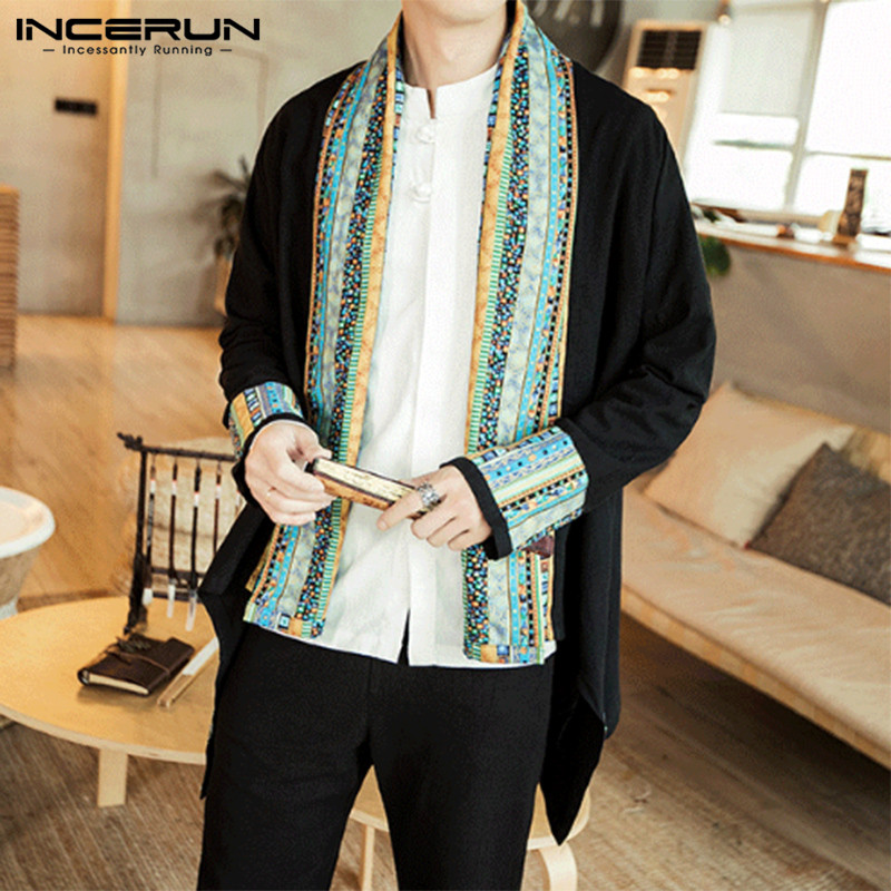INCERUN Ethnic Style Men Outerwear Long Sleeve Vintage Printed Patchwork Cardigan 2020 Streetwear Casual Mens Trench Coats S-5XL