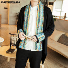 INCERUN Ethnic Style Men Outerwear Long Sleeve Vintage Printed Patchwork Cardigan 2021 Streetwear Casual Mens Trench Coats S-5XL