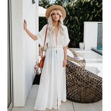 summer dress Long 2019 new casual sexy beach women lace sunscreen solid Bohemian maxi robe femme